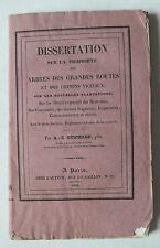 DISSERTATION SUR LA PROPRETE DES ARBRES DES GRANDES ROUTES - GUICHARD - 1834 *