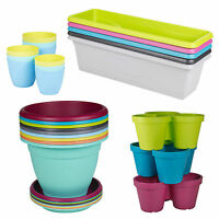 Plastic Plant Flower Pot Garden Holder Pots Planter Herb Assorted Colours NEW