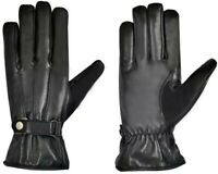 Mens 100% Leather Black Touch Screen Soft Fleece Lined Driving Thermal Gloves