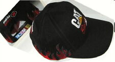 New Rugged CAT Racing Ball Cap Caterpillar NASCAR Hat Black / Red Flames