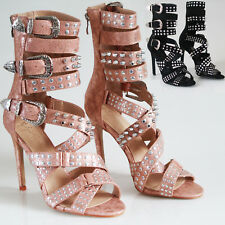 a721b0b87202 UK Women s Studded Ankle Strap High Heels Rivet Gladiators Pointy Sandals  Shoes