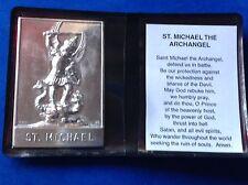 Archangel St Michael Silver Metal Saint Plaque Folder Pocket Catholic Icon