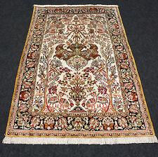 Orient Teppich Seide 127 x 80 cm Perserteppich Seidenteppich Beige Silk Carpet