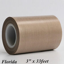 """3"""" Teflon Adhesive Tape 500℉ 33feet 0.13MM Thickening PTFE Nonstick from US"""