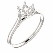 10K White Gold Round 6-Prong Solitaire Semi Mount Engagement Bridal Ring