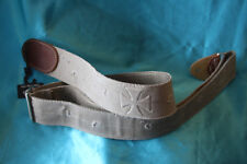 "LM 2"" Distressed Khaki Canvas Guitar Strap, Embossed Iron Cross Design, RE-2ICT"