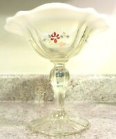 "1980's Fenton Glass French Opalescent Handpainted Floral 6 1/4"" Compote"