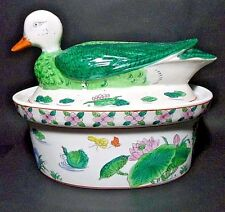Vtg Hand Painted 1.5 Qt Covered Ceramic Duck Floral Tureen Casserole Dish Bowl