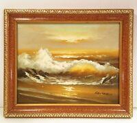 "Original oil painting. Ocean seascape.  Signed Peter Sanders.10"" X 11"" framed."