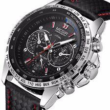 MEGIR Mens Military Stainless Steel  Analog Sport Quartz Wrist Watch Waterproof