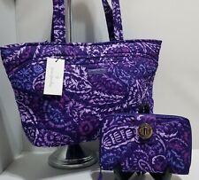 Vera Bradley Purple Paisley Amethyst Mandy Top-zip Tote Bag