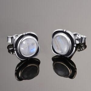 Vintage 925 Silver Natural Rainbow Moonstone Birthstone Stud Earrings Jewelry
