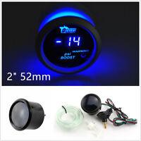 """2"""" 52mm 12V Black Surface Blue LED Car SUV Digital Turbo Boost Gauge Meter PSI"""