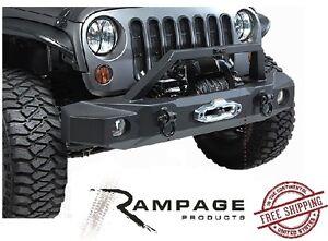 Rampage Front Trailguard Bumper w/ Winch Plate fits 2007-2018 Jeep Wrangler JK