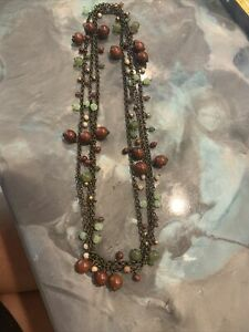 "THE LIMITED Wood Green Gold Pearl Brown Bead Necklace 32"" Long"