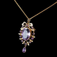 A Magnificent Large Amethyst & Seeded Pearl Gold Necklace  - Antique Edwardian