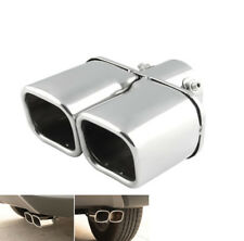 Universal Silver Dual Auto Exhaust Tip Square Tail Pipe Muffler Trim Stainless