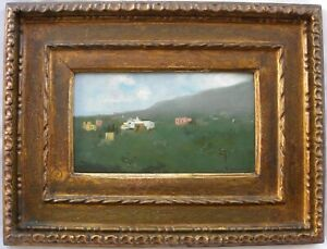 Carlo BRANCACCIO (Napoli 1861-1920) Paesaggio Olio su tavola + splendida cornice