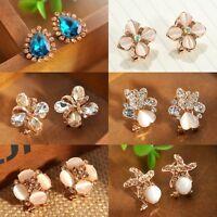 Elegant Fashion Women Lady Girls Crystal Rhinestone Flower Ear Stud Earrings NEW