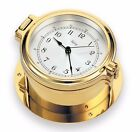 "Victory BA1492 4"" Brass Porthole Quartz Clock ""Admiral"" w/ Ship's Bell 135-227"