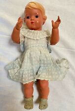 Antique Celluloid German Girl Doll Turtle Mark Brown Glass Eyes Blonde Molded