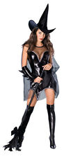 BLACK MAGIC WITCH Costume Black Dress Cape Hat Gloves Adult Lady XS Small 4 6 8
