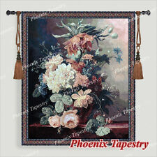 """Still Life with Flowers Fine Art Tapestry Wall Hanging, Cotton 100%, 54""""x46"""", UK"""