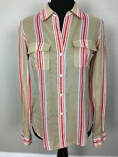 Theory Women M 100% Cotton Shirt Top Blouse Button Up 2 Pocket Striped Multi EUC