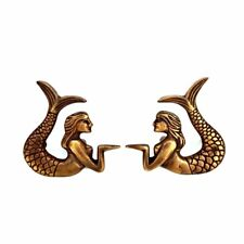 2 cute mermaid handles heavy SOLID 100 % Brass  old style Patinbolt house 80mm B