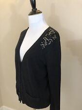 Women's GAP Dark Gray Button Front Cardigan w/ Rhinestone Embellishments - Small