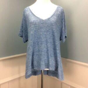 Madewell Top Medium Blue Textured Linen Loose Flowy Oversized V Neck Tee