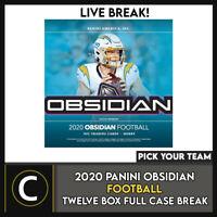 2020 PANINI OBSIDIAN FOOTBALL 12 BOX (FULL CASE) BREAK #F642 - PICK YOUR TEAM