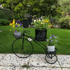 Tricycle Plant Stand Flower Pot Cart Holder Storage Organizer Shelf Home Garden