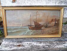 """LAMOIS (peintre français du 19ème) huile sur panneau, """"Marine"""" bateau Bretagne"""