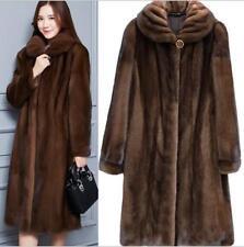 Womens Lady Real Mink Fur Coat Casual Coat Trench Warm Jacket Parka Warm Outwear