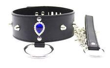 """Collier soumise/esclave en """"cuir"""" noir avec laisse, anneau,rivet,sapphire,cadena"""
