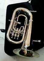 EUPHONIUM 4 VALVE IN SILVER CHROME POLISH + MOUTHPC + FREE SHIP+ HARD CASE BOX +