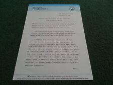 1988 1989 MERCEDES BENZ MULTI VALVE ENGINES 225 BHP SL UK PRESS RELEASE Brochure