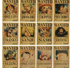 12pcs One Piece Pirates Wanted Vintage Retro Kraft Paper Antique Poster