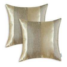 Set of 2  Pillow Cover Cases Reversible Jacquard Striped Sofa Decor 18 x18 Gold