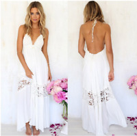 Women V-neck Lace Backless Casual Maxi Long Beach Cocktail Party Evening Dress