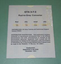 Vintage 1984 US Military Rad to Gray Converter Slide Chart Card GTA 3-7-3