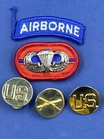 US Army Airborne Jump Wings Patch Coat Buttons Lot Of 5 Military Uniform Gear
