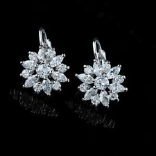9K REAL WHITE GOLD FILLED  FLOWER HOOP EARRINGS MADE WITH SWAROVSKI CRYSTALS HE2