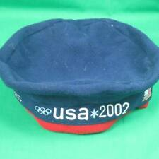 ROOTS OFFICIAL 2002 SALT LAKE WINTER OLYMPICS USA TEAM BLUE FLEECE BERET HAT CAP
