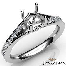 Marvelous Pave Setting Diamond Engagement Platinum Round Semi Mount Ring 0.35Ct