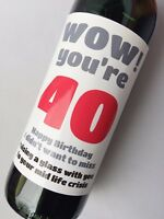 40th Birthday, Funny, Humorous, Sarcastic Wine, Champagne Beer Bottle Label Gift
