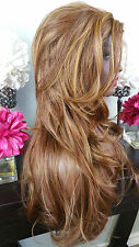 Beautiful Strawberry Blonde Ginger Mix Lace Front Wig Long Wavy Heat Safe
