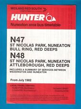Bus Timetable ~ Midland Red South: Hunter - N47/8 Nuneaton Local Services - 1982