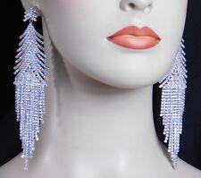 Silver Ab Iridescent Rhinestone Crystal Bridal Chandelier Earrings